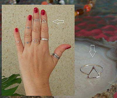 Pyramid 1mm Band Midi Ring  Above Knuckle Ring. 925 Sterling Silver
