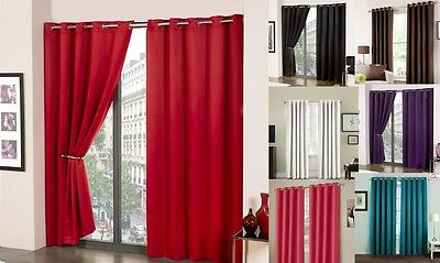 Luxury Thermal Lined Blackout Ring Top Eyelet Curtains Pair Ready To Hang