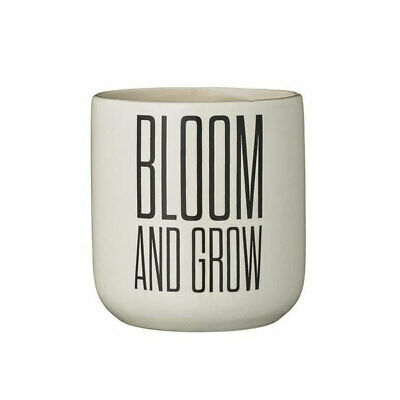 Bloomingville Decorative Ceramic White Flower Pot With Printed Words
