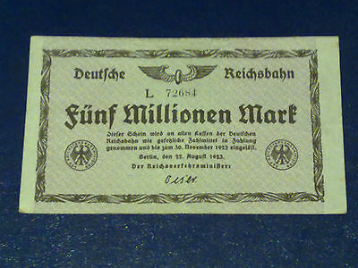 Germany -5 Million Mark Rail Banknote 1923-Inflation - Very  Fine