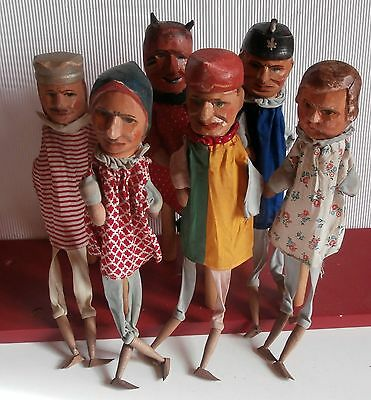 EARLY  1900  / 6 CHARACTER  Punch  &  Judy   WOOD WOODEN  CARVED HEADS  puppets