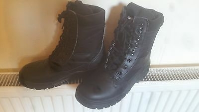 Savage Island Black Leather Army Boots, Police, Combat Boot UK Size 6-Brand New