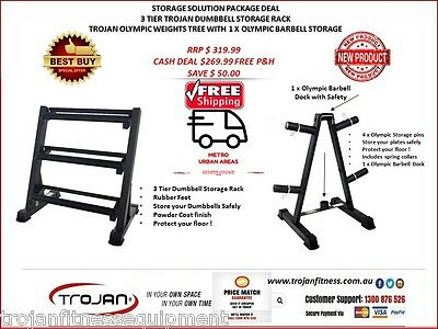 Dumbbell Rack 3 Tiers + Olympic Weights Tree Rack with Barbell Dock FREE Shiping
