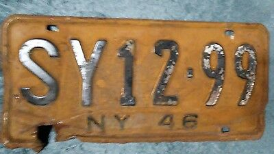 Vintage antique New York State single license plate  1946