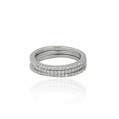 Set of 3 Sterling Silver 925 Cubic Zirconia skinny eternity edged band ring