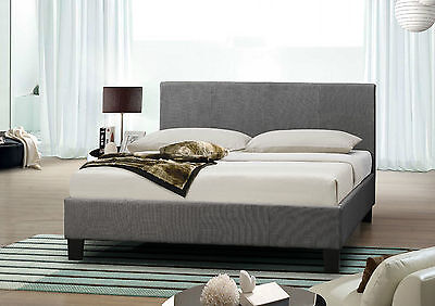 Grey Upholstered Fabric 4FT6 Double Bed Frame With Memory Foam Mattress Included