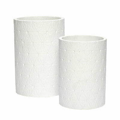Beautiful Concrete Plant Pot With Pattern Set of 2 Danish Design by Hubsch