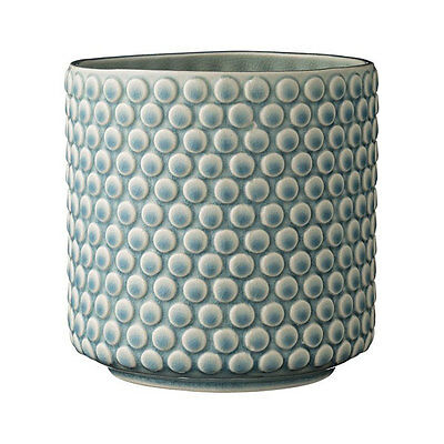 Decorative Stoneware Bubble Structure Sky Blue Flower Pot by Bloomingville