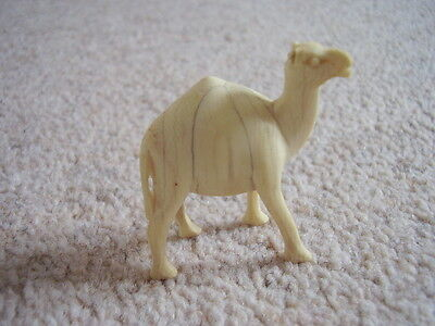 Antique Chinese-oriental hand CARVED Bovine Bone small camel figure-ornament