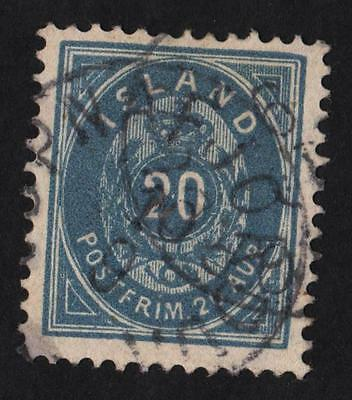 Iceland  20 Aur OUTREMER Stamp with  obliteration of the city of ISAFJORDUR