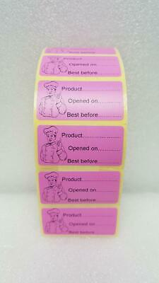 PINK 100x Food Labels - Product & Best Before Date Adhesive Labels 50mm x 25mm