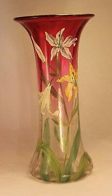 "Antique Enamel & Glass Lily Vase -  Mont Joye French Art Glass 11⅜"" Art Nouveau"