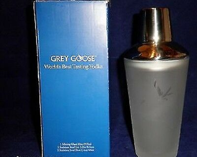 Grey Goose Vodka Frosted Pint Glass, Martini Shaker With Box NEW Free Shipping