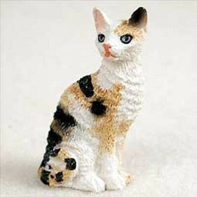 Cornish Rex Tortoise & White Small Cat Figurine