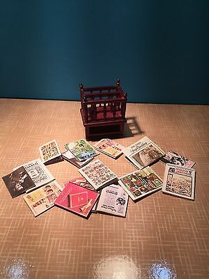 1/12Th Scale Dolls House Mahogany Magazine Rack With Contents