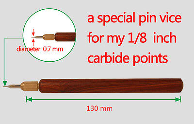 a carbide pin vice nicking tool burin graver carving knife cutter printmaking