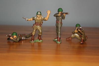 MARX WARRIORS OF THE WORLD 4 WWII AMERICAN GIs Vintage 1960's