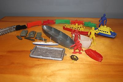 LIDO PLASTIC TOYS: TRAIN, BOATS, PIRATES, AND ARMY VEHICLES Vintage 1960's