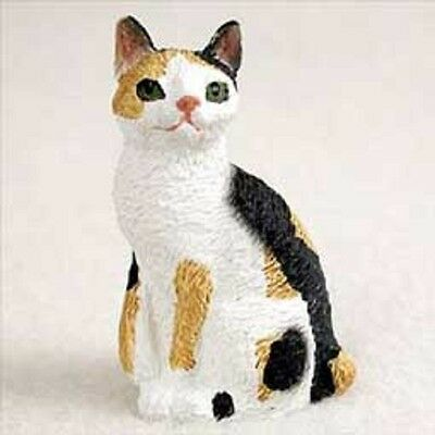 Japanese Bobtail Tortoise & White Small Cat Figurine