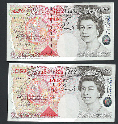 Gb Qeii - Kentfield - Consecutive Pair £50 (Fifty Pound Notes) A99 811912 &3 Unc