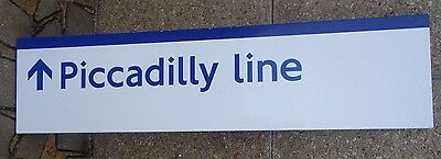 Piccadilly Line LONDON UNDERGROUND ENAMEL on metal direction sign. NOT PAPER!!!