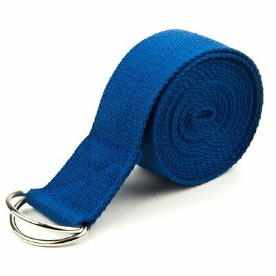 Crown Sporting Goods SYOG-403 8-foot Cotton Yoga Strap with Metal D-Ring, Blue