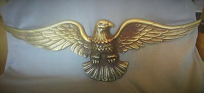 Vtg American Bald Eagle Wall hanging plaque USA Gold Brass Antique Winged Art
