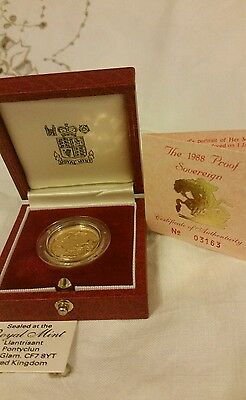 1988   proof Gold sovereign royal mint with coa