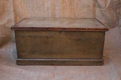 Antique Victorian orginal painted pine trunk blanket box coffee table