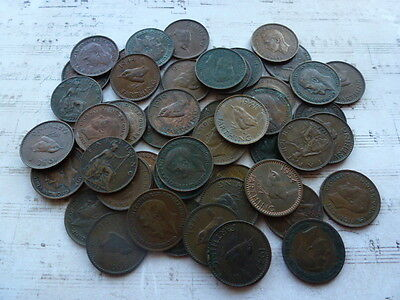 "50 X British FARTHINGS mixed Dates - Victorian to Elizabeth II ""UNSORTED"""