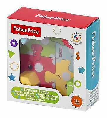 Fisher Price Elephant Puzzle Wooden Blocks Interactive Game for Babies