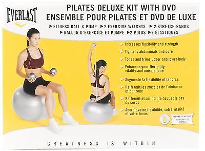 Everlast EF7692SL Pilates Ball with Resistance Tubing and DVD (Silver)