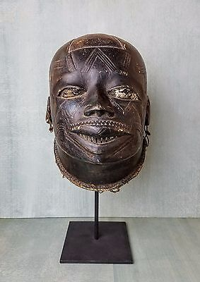 Antique Makonde Tribe Helmet Mask With Earrings
