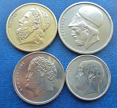Greece - lot of 4 coins - 50, 20,10 & 5 Drachma - 1978-1988