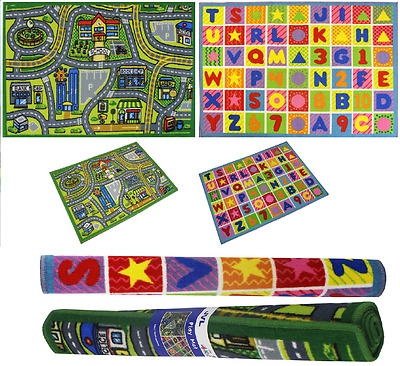 Children's Alpha Numeric & Road Play Mat Kids Nursery Rug Stitched Edge Mat New