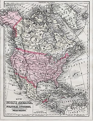 1894 North America Map United States Texas West Indies Alaska Canada Original