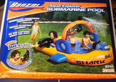 NEW - Banzai Aqua Explorer Inflatable Submarine Ship Pool - Water Cannon