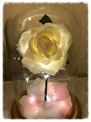 Beauty and the Beast Enchanted Rose *WHITE/PINK Glitz Order Now For Mothers Day*