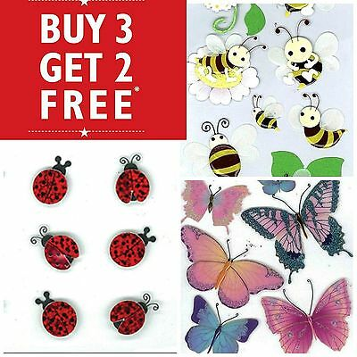 Buy 3 Get 2 FREE Jolee's Boutique Sticko Stickers 3D Butterflies Ladybug Insect