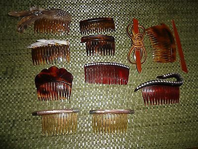 Lot Vintage Lucite Tortoise Shell & Rhinestone Hair Combs, etc. Great Condition!