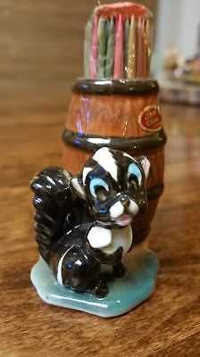 Vintage Japan Bone China Toothpick Holder SKUNK with Barrel in NEW Condition!!