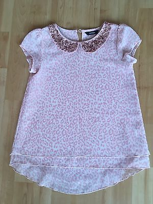 Lovely Girls George Pink Leopard Print Blouse With Sequin Collar, Age 7-8 Years