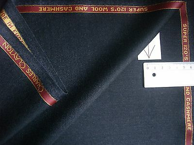 97%SUPER120's WOOL WORSTED+3% CASHMERE SUITING FABRIC BY CHARLES CLAYTON-3.84**m