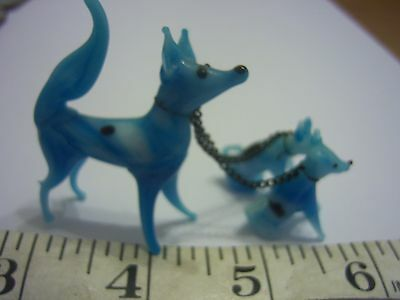 Murano Glass Dog With Two Puppies