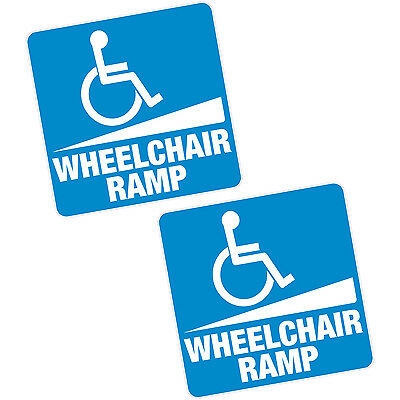 "2 x Wheelchair Ramp Vinyl Sticker 6"" 150mm Sq. Blue Badge Home Shop Motability"