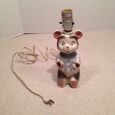 Vintage Ceramic Teddy Bear Lamp For A Baby Or Childs Room