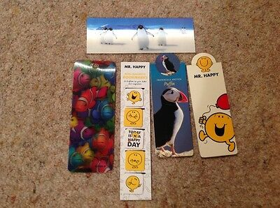 5 small magnetic and 4 regular book marks. 2 3D book marks. Mr happy & a puffin
