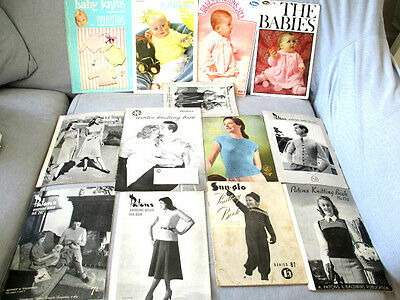13 Vintage Knitting Pattern Books-Patons/villawool Sunglo+ More