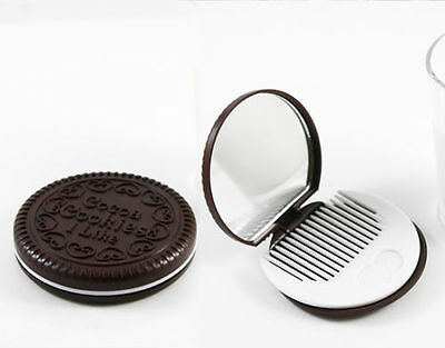 Oreo Style Cookie Compact Mirror With Comb Cute Gift *new* Xmas Stocking Filler
