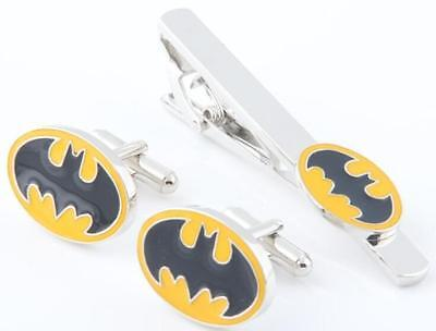 Batman Cufflinks + Tie Clip/pin Marvel Novelty Gift For Him Valentines Day *new*